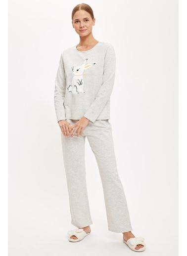 Defacto –Fit Tavşan Baskılı Uzun Kollu Pijama Takımı Gri
